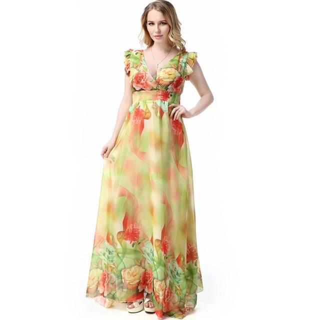 2d673ef6afb Boho Style Plus Size Women Maxi Dress Chiffon Floral Print short Sleeve  Summer Dress
