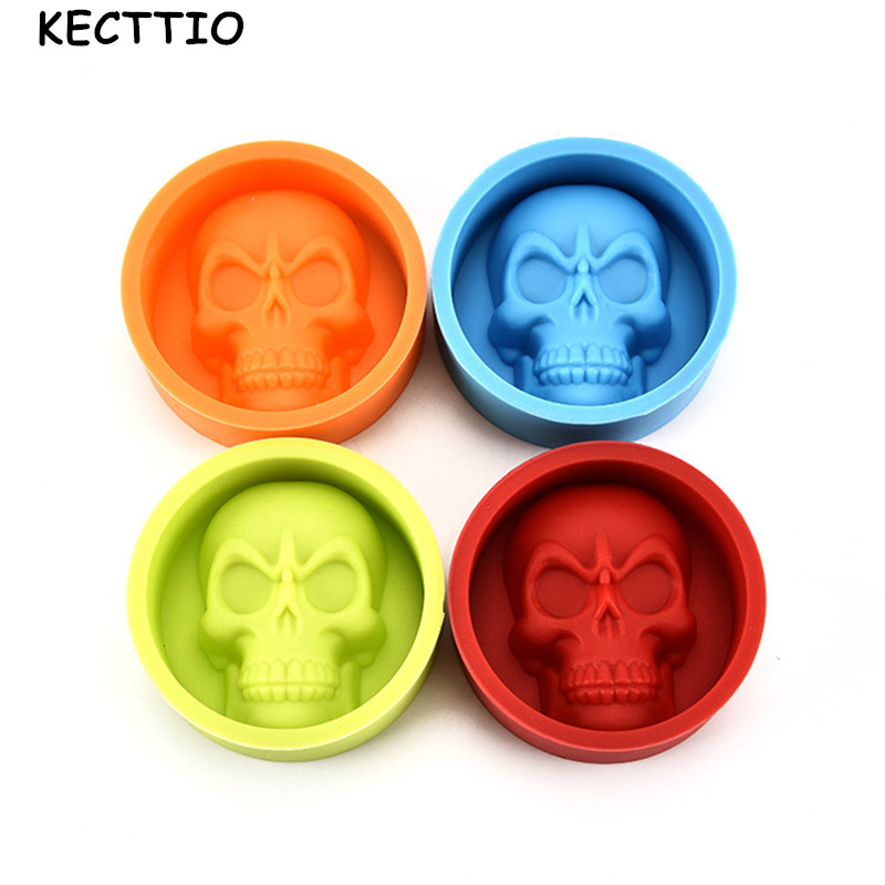 1Pcs 3D Skull Head Silicone Mold Home Party Fondant Cake Chocolate Silicone Mold Cake Tools