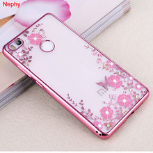 Nephy Flowers Rhinestone Case For Xiaomi Mi 6 Redmi 3s 4 4 Pro Prime 4A 5 Plus 5A Note 2 3 4 4X Cell Phone Back Cover TPU Casing(China)