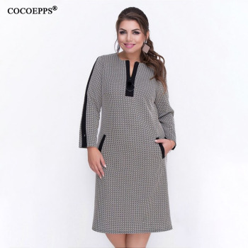 5XL 6XL 2019 Autumn Big Size Women Dress Winter Casual Print Patchwork Plus Size Dress Zipper Large Sizes Elegant Party Dresses 1