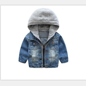 2018 New Baby Boys Denim Jacket Classic Zipper Hooded Outerwear Coat Spring Autumn Children Clothing Kids Jacket Coat