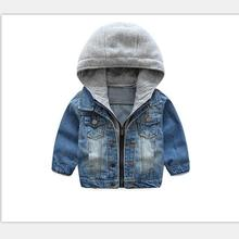2018 New Baby Boys Denim Jacket Classic Zipper Hooded Outerw