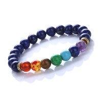 Модные Макилрою натуральный Лазурит Бусины браслет Lucky красочный чакра энергии Йога Будда браслет из бисера Для женщин браслет подарок