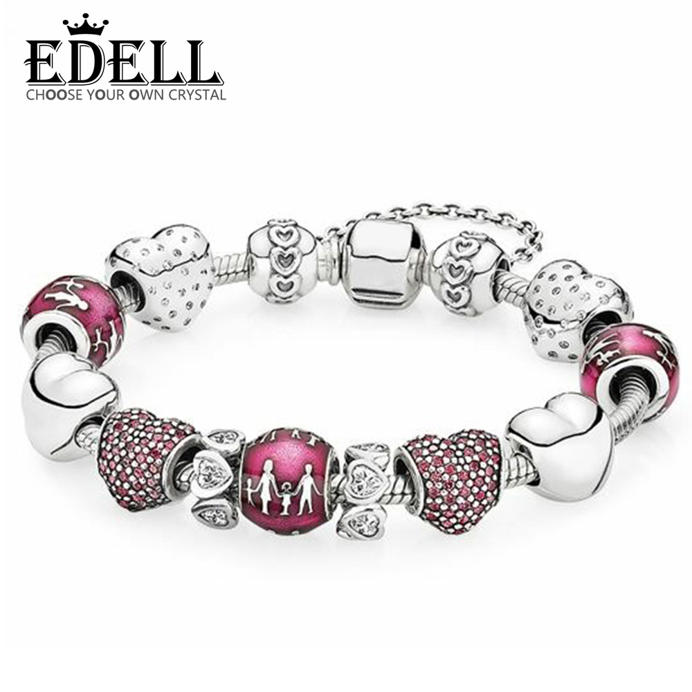 EDELL 100% 925 Sterling Silver Red Pave Shimmering Heart Charm Family with translucent violet enamel Beaded Bracelet Gift SetEDELL 100% 925 Sterling Silver Red Pave Shimmering Heart Charm Family with translucent violet enamel Beaded Bracelet Gift Set