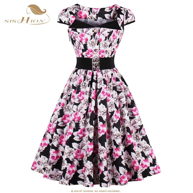 f057486bb8e70 SISHION Floral Print Rockabilly Dresses Plus Size Women Clothing Short  Sleeve Pink Elegant 50s 60s Swing Vintage Dress 0597S2