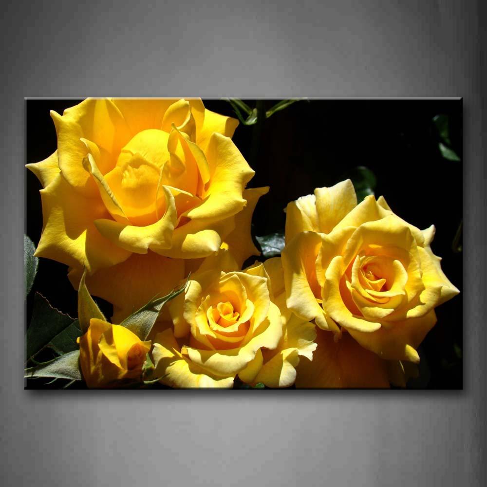 Encadrée mur Art photos jaune Roses toile impression fleur affiche avec cadre en bois pour la maison salon et bureau décor