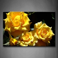 Framed Wall Art Pictures Yellow Roses Canvas Print Flower Poster With Wooden Frame For Home Living Room And Office Decor