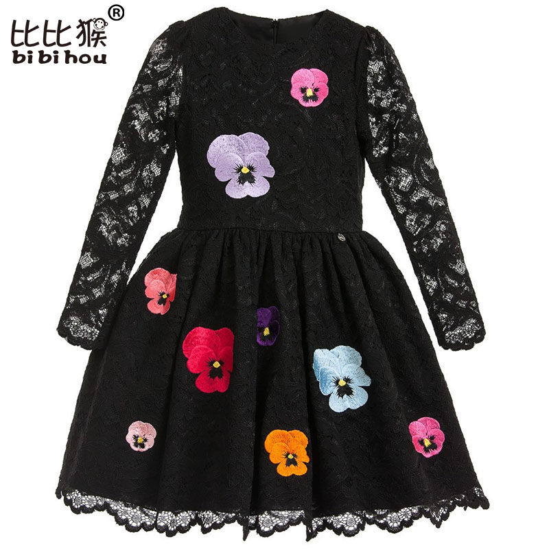 Spring Summer New Lace Flowers Girls Dresses High Quality Child's Wear Toddler TuTu Girl Dresses Clothing Hollow Mesh Kids Dress