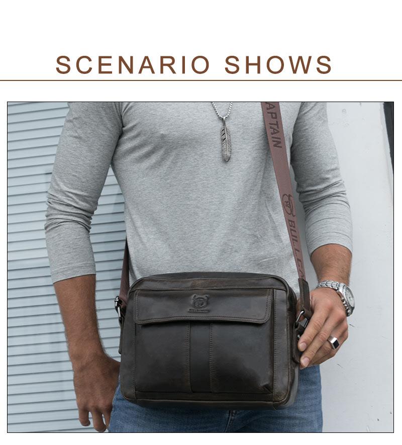 BULLCAPTAIN Fashion Men's Vintage Briefcase Genuine Leather Men Bag Messenger Brand Shoulder Bags Business Crossbody male Bag