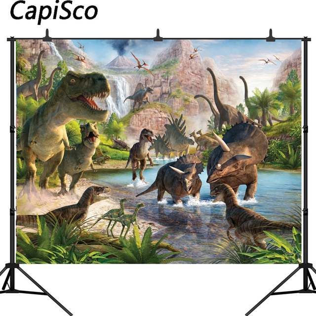 Capisco Jurassic World Photography Backdrop Dinosaur Safari Jungle Party Backdrops for Birthday Decorations Photo Background