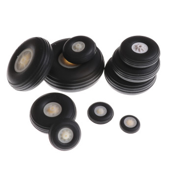 Wholesale 2/4pcs Tail Wheel Rubber PU Plastic Hub 1 - 3.5 Inch For RC Airplane Car Replacement Parts Black,White Color image