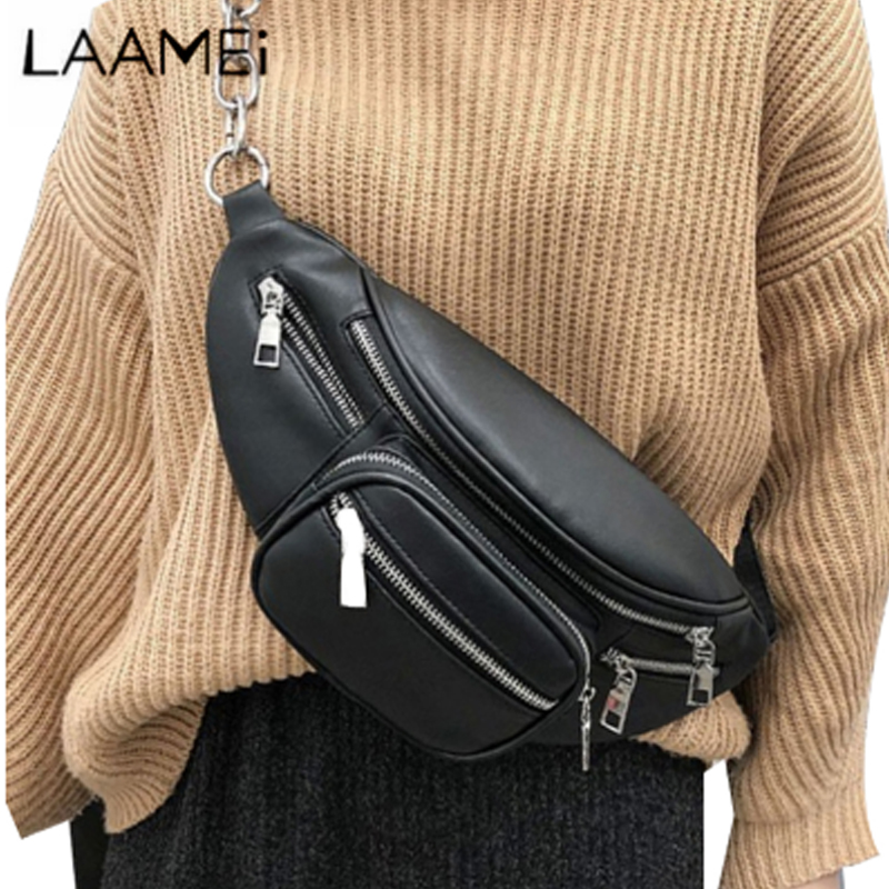 Laamei Pu Leather Zip Pouch Women Waist Bag Fashion Belt Chest Bag Travel Money Phone Bags For Ladies Female Luxury Funny Pack