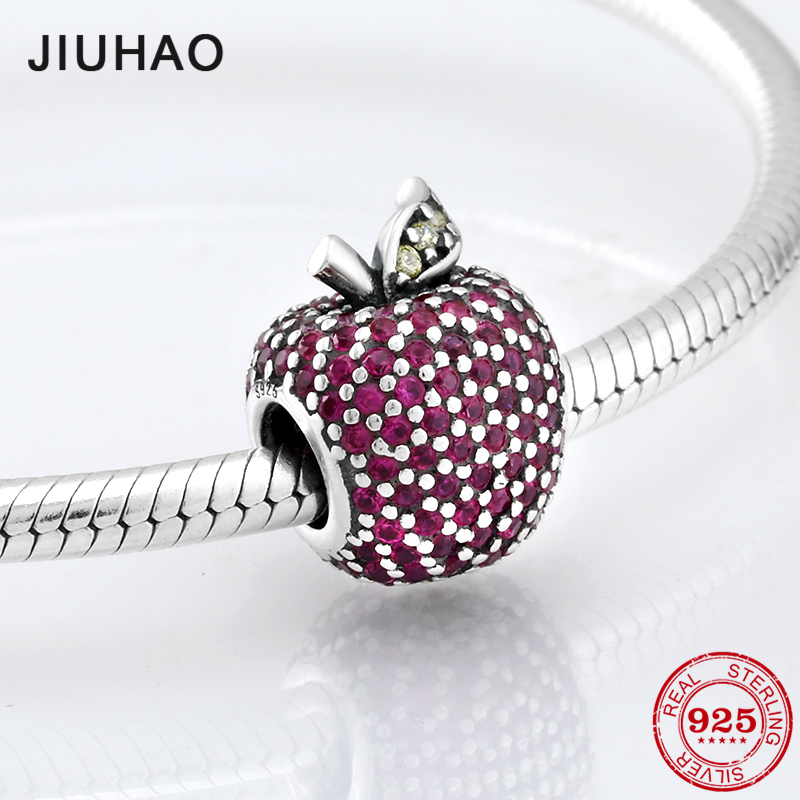 Hot sale jewellery apple bead pink red colorful zirconia beads 925 sterling silver Fit Original Pandora Charms Bracelet Jewelry