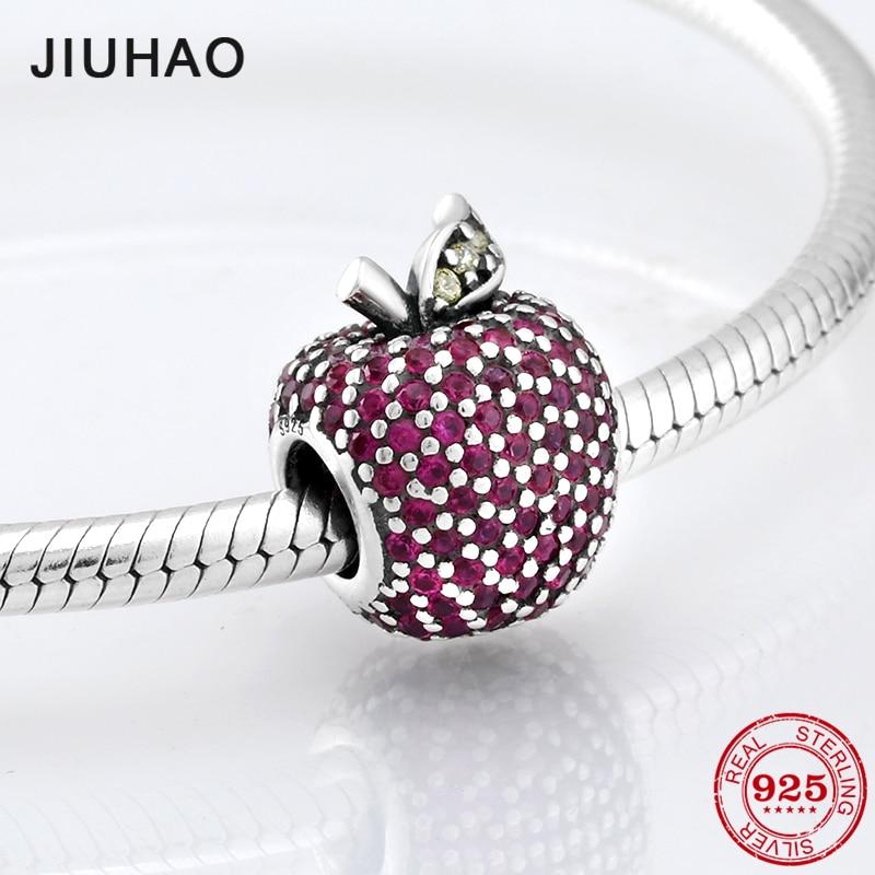 3f46444a6518 Venta caliente joyería apple bead Rosa rojo colorido zirconia cuentas 925 Plata  de Ley Ajuste Original