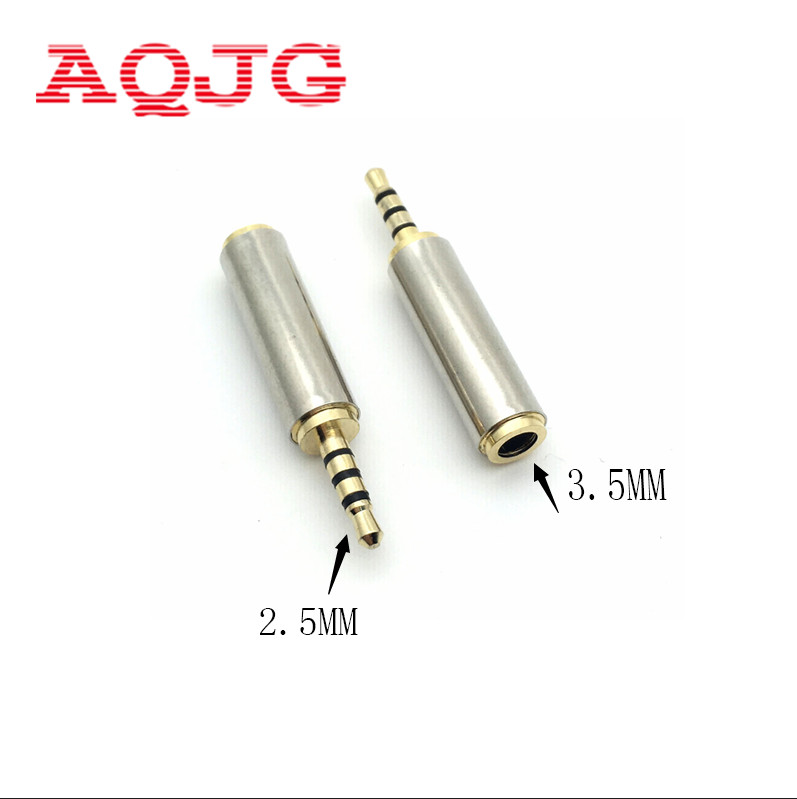 1pc Gold 2.5 Mm Male To 3.5 Mm Female Audio Stereo Adapter Plug Converter Headphone Jack AQJG