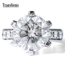 TransGems 7 Carat DEF Color Lab Grown Moissanite Diamond Wedding Ring with Lab Diamond Accents Solid 14K White Gold Women Band