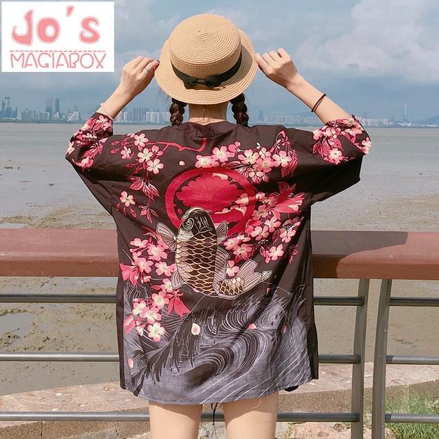 2017 Verão Floral Japonês Kimono Jiu Jitsu Kimono Cardigan Feminino Blusa Mulheres Camisa Solta Harajuku Maxi Kawaii Cherry Blossom