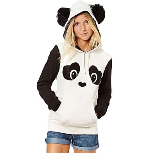パンダのパターンの女性パーカー暖かい秋冬スウェットロングスリーおしゃれかわいいふわふわ帽子