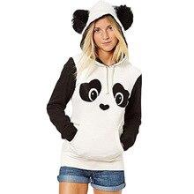Panda desen kadın Hoodie sıcak sonbahar kış kazak uzun kollu kazak moda ve güzel kabarık şapka