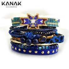 KANAK Ribbon Leopard Summer Women Bracelet Multilayer Leather Wrap Bracelet Brazilian Beaded Bracelet Rivet Ethnic Magnetic