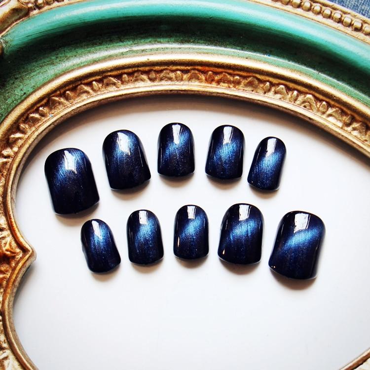 Dark blue cat eye UV gel false nails 24pcs with glue pure color cute ...