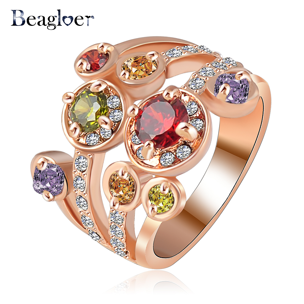 Beagloer Brand Costume Rings For Women Rose Gold Color Flower Ring Made  With Genuine Austrian Crystal