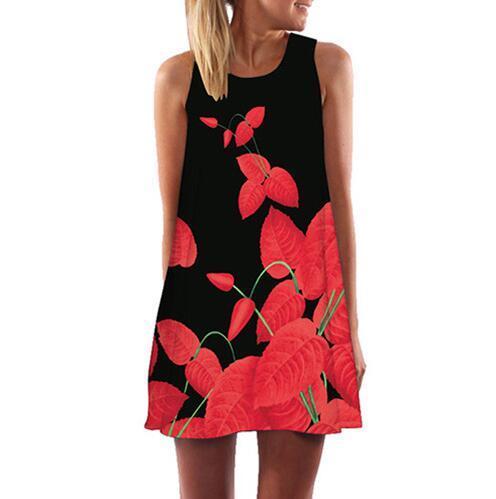 Women Dress Rose Print...