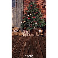 Vinyl Photography Background Red Brick Walls And Brown Vintage Wooden Floor Custom Christmas Backdrops Props For