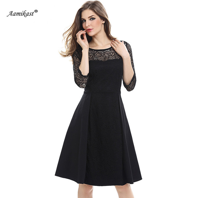Aamikast Women See Through Sleeve Floral Lace Dress Autumn Patchwork Dresses  Soild Color Elegant Draped Vestidos efbed91c1eb0