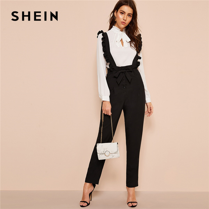 SHEIN Office Lady Black Belted Button Fly Pants With Ruffle Straps Women Spring Autumn Solid Long Trousers Straight Leg Pants