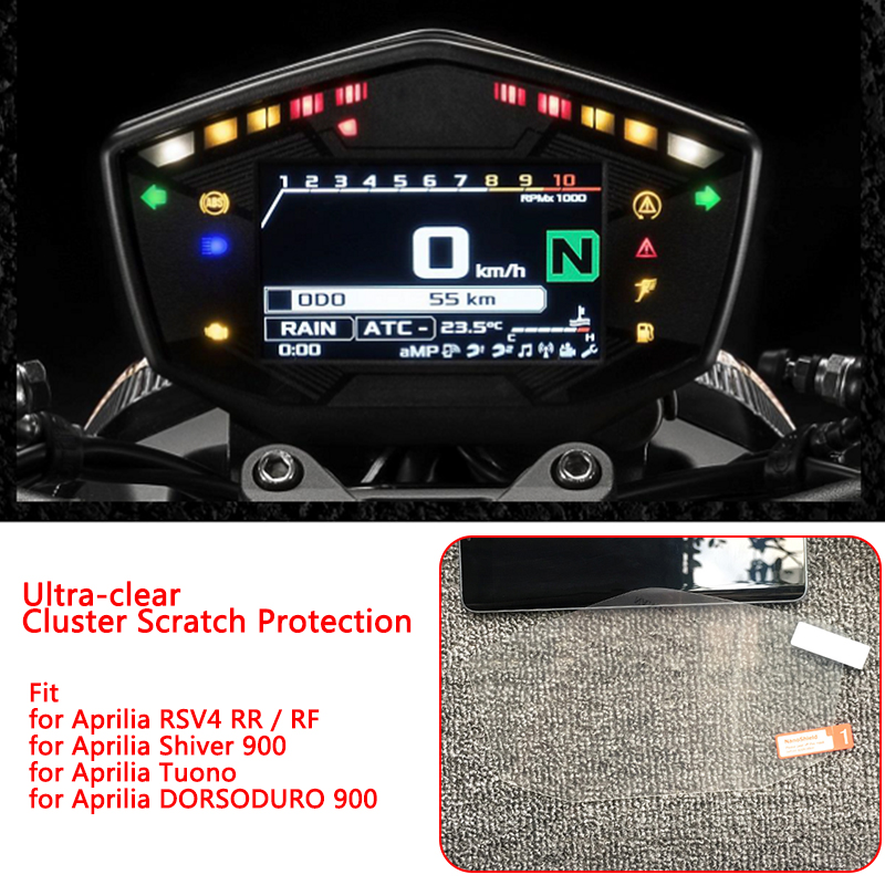 New Clear Cluster Scratch Protection TPU Film Screen Protector For Aprilia RSV4 RR/RF / DORSODURO 900 / Tuono / Shiver 900