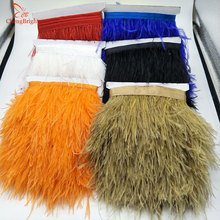 Ribbon-Decoration Feather-Ribbon Trim-Fringe Dress/clothes-Accessory Natural Ostrich