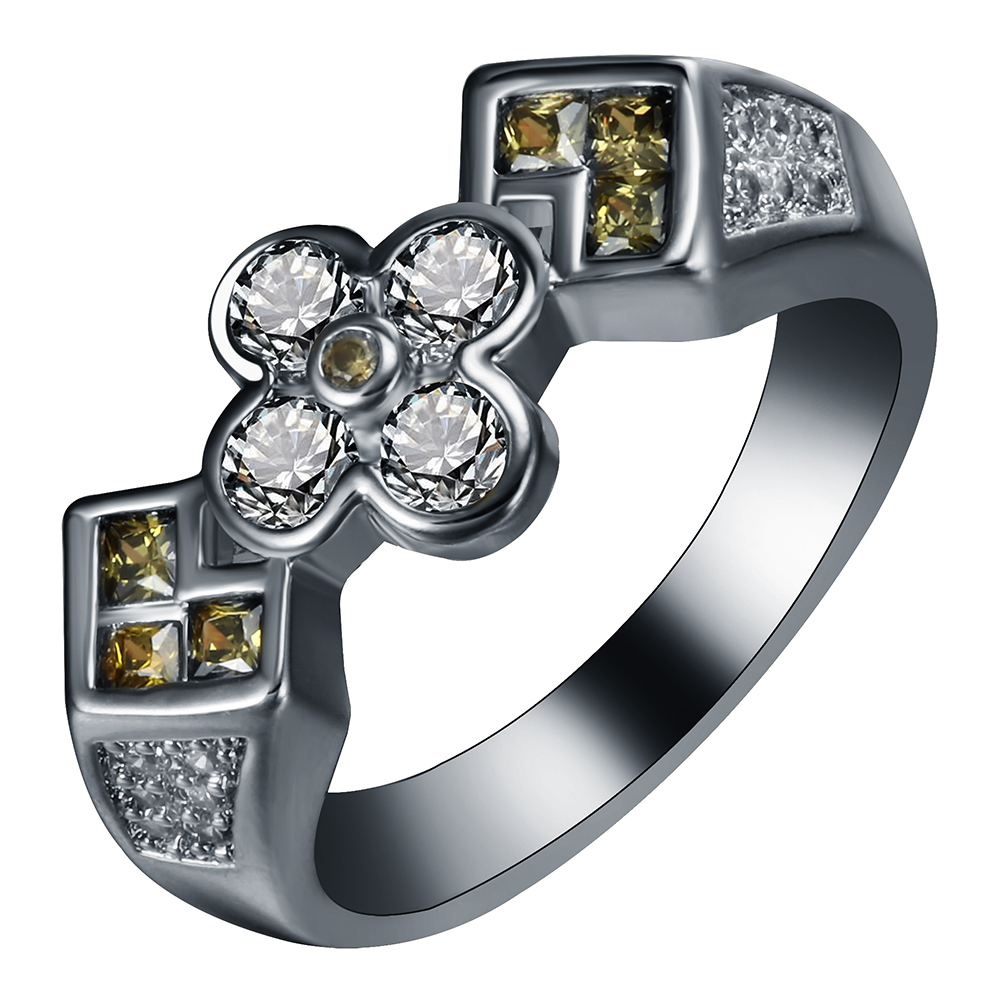 Cross black ring mixed color green white zircon cheap new trendy fashion vintage jewelry for men finger wedding band