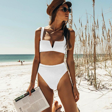 ECTIC Sexy Bikinis 2019 New V Neck Bikini Swimsuit Push Up Swimwear Female Brazilian Bikini Set High Waist Bathing Suits Biquini недорго, оригинальная цена