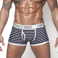 Pink Hero Sexy Cotton Men's Boxer Shorts Free Shipping Famous Brand Striped Men's Underwear Hot Selling P1203 4pcs/lot