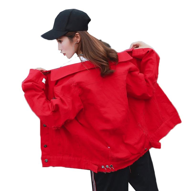 Women Autumn   Jackets   2019 New Fashion   Basic   Denim   Jacket   Coat Women Denim Coat Black Red Cowboy   Jacket   Women Clothing