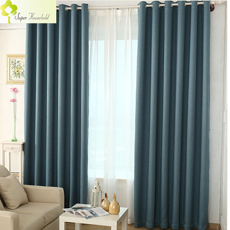 Solid Colors Faux Linen Curtains For Living Room And Bedroom Window Blinds Luxury Blackout 12 Kinds Of Color