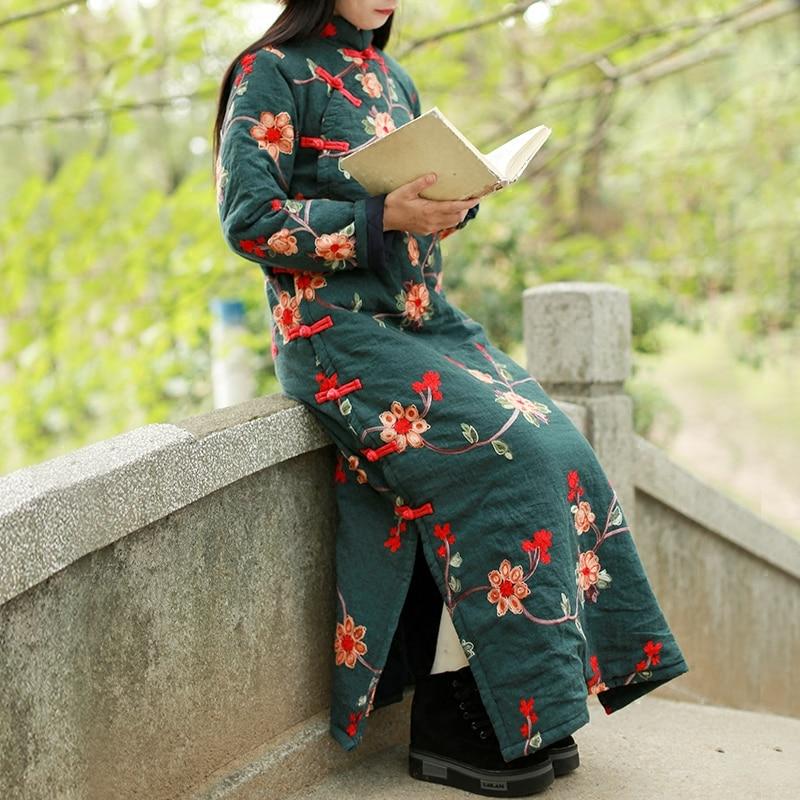 Chaud Coton Automne 1898 Hiver Floral Épaissir Manches Lzjn Rembourré Femmes Broderie À Une Pièce green Fleurs Robe Robes Longues Black TEOO7Pqnw