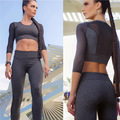 Women Fashion 2 Pieces Set Grey Mesh Patchwork Women Crop Tops Slim Sexy Leggings Suits Three Quarter Sleeve Yuga Sets