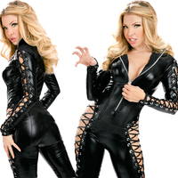 2018 New TOP Quality Women's Sexy Bodysuit for Ladies Novelty Jumpsuits with zipper Black Mesh Long Sleeves Bodycon