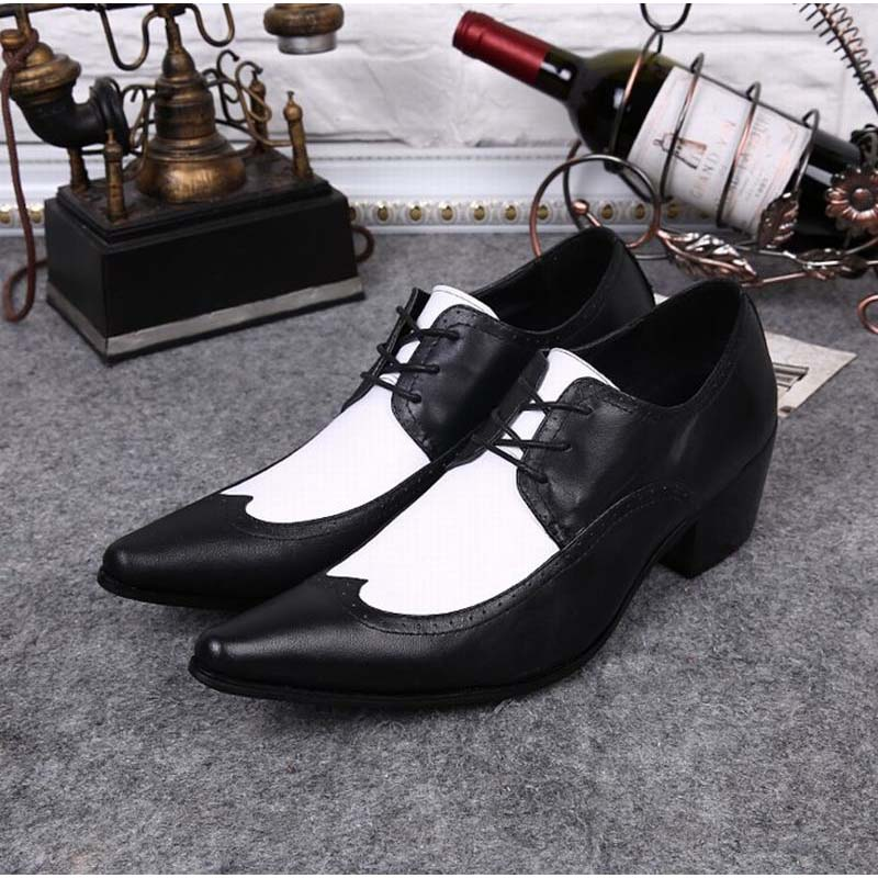 Hot Italian Classic Black White Brogue Genuine Leather Lace Up high heels Mens Formal Business Dress Party Office Wedding Shoes 2017 classic polka dot lace up men brogue dress shoes genuine leather brown black formal office business man suit shoe e71815 21 page 9