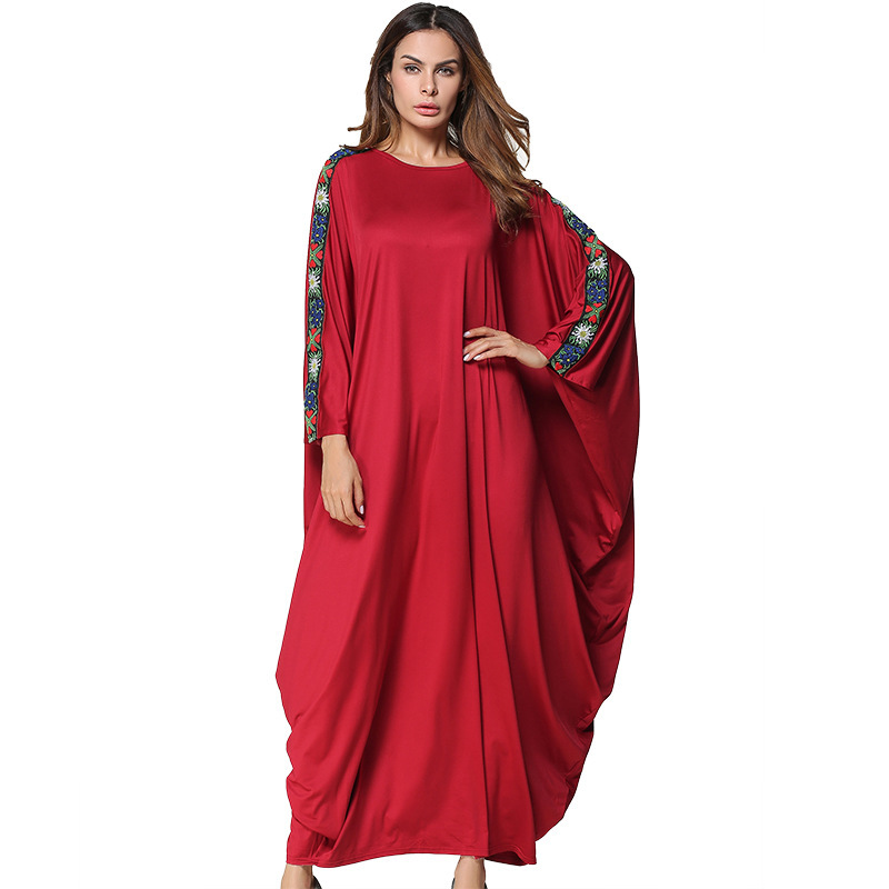 2018 Kaftan Beach Wear Cover Up Large Size Women Pareo Summer Dresses 2019 Make Pure Color Bat Long Sleeve Dress Son Big Yards