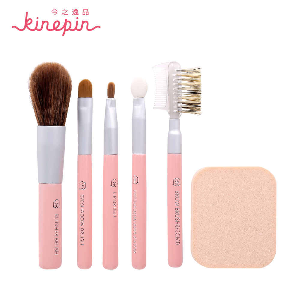KINEPIN Brand 6pcs Kit Makeup Brush Set Professional Makeup Brushes Powder Eyeshadow Wooden Brush with Cosmetic Puff Sponge 8pcs makeup brushes cosmetics eyeshadow eyeliner brush kit 15 color concealer facial care camouflage makeup palette sponge puff