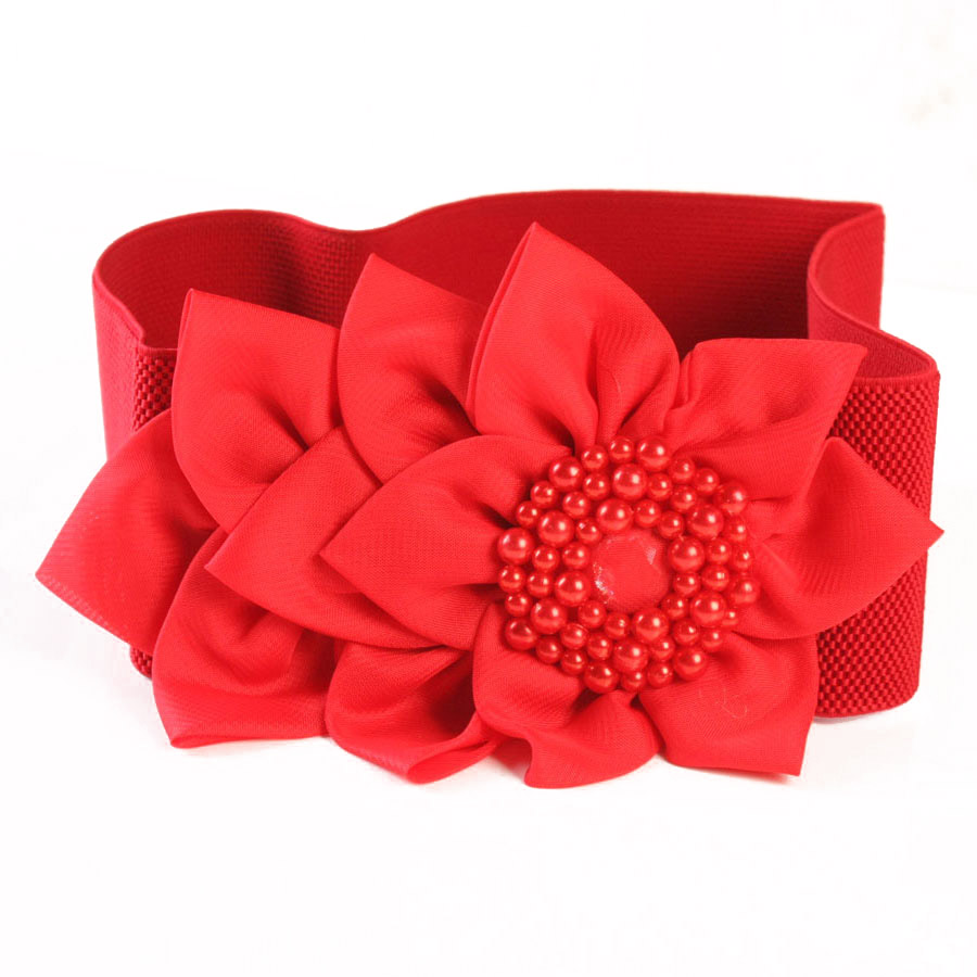 Lady Decoration Belt Female Dress Decorate Waist Band Tight Waist Chain Girls Fashion Flower Decoration Wide Belt B-8398