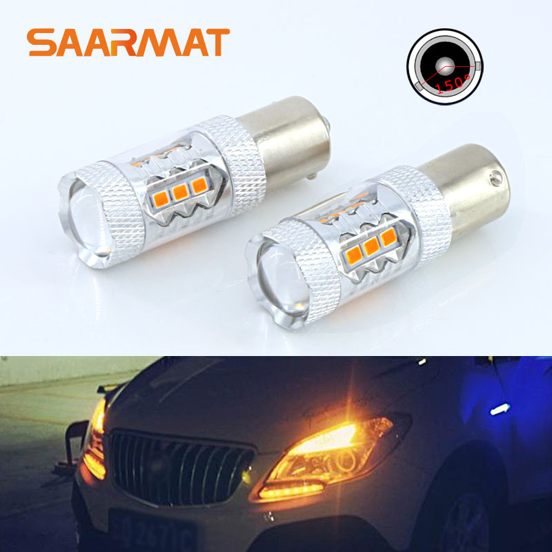 Pair <font><b>Amber</b></font> yellow PY21W BAU15S 16SMD w/ Sumsung Chips 80W 150-Degree <font><b>Led</b></font> Bulbs Turn Signal image