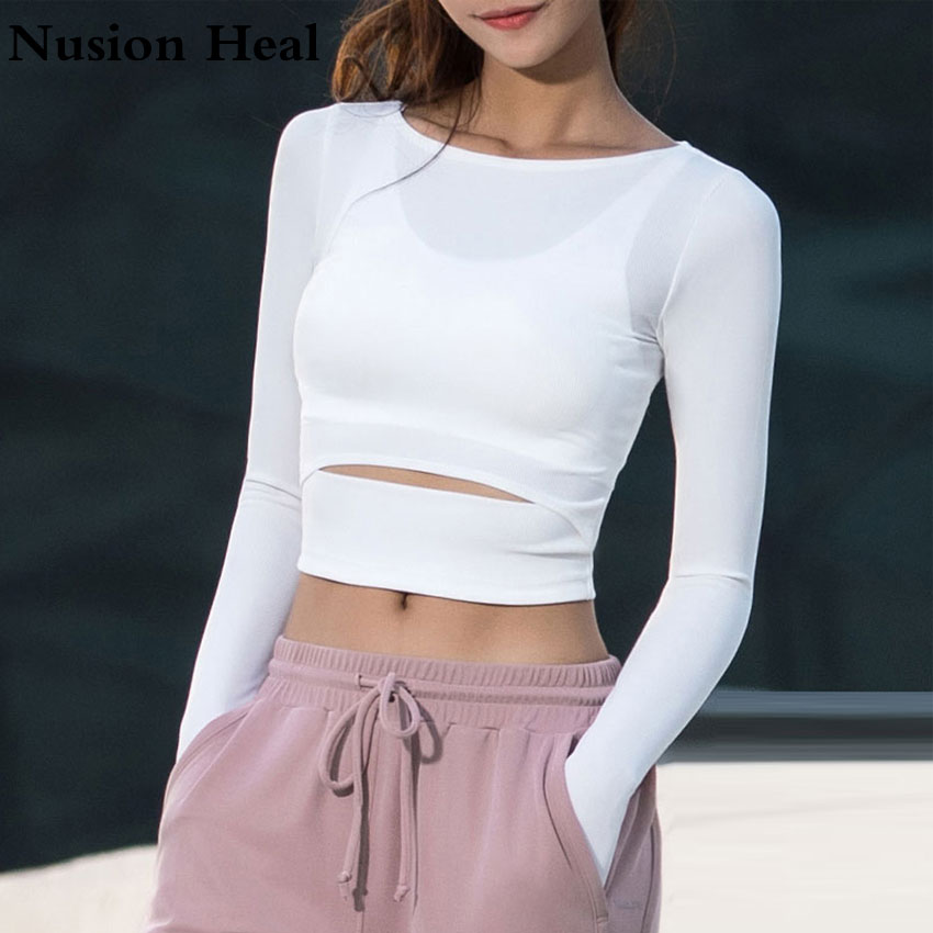 2018 Women Gym White Yoga Crop Tops Yoga Shirts Long Sleeve Workout Tops Fitness Running Sport T-Shirts Training Yoga Sportswear girl