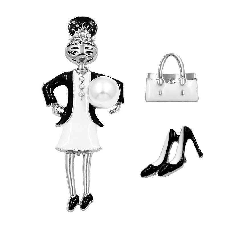 مجموعة من 3 قطع من الأحذية وحقيبة يد للبنات الجميلة دبابيس بروش من المينا لإكسسوارات الملبس