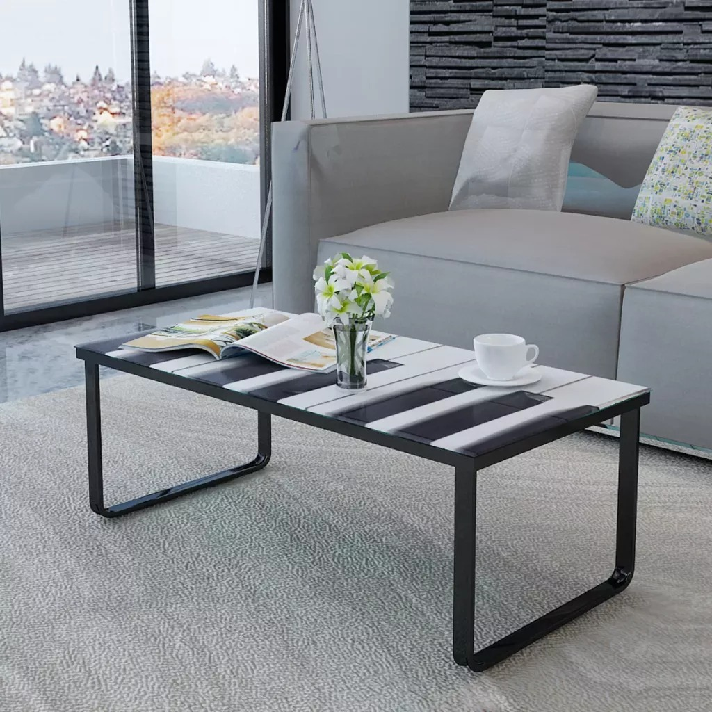 Mesa de centro VidaXL de gran calidad con impresión de Piano, mesa de sala de vidrio, muebles de escritorio con dibujos de coches de estilo moderno V3