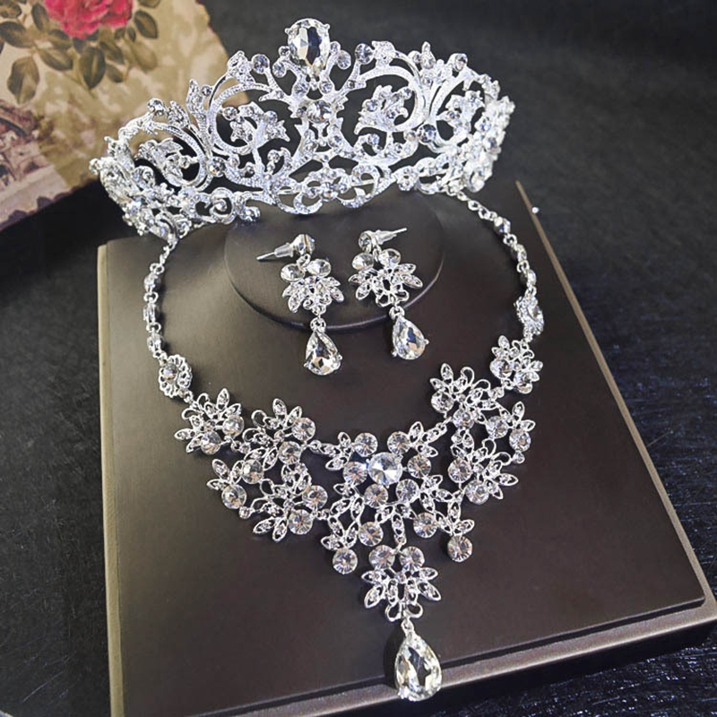 New Bride Crystal Rhinestone Jewelry Set Headdress Ornaments Wedding Dress Accessories Crown Necklace Earrings Gorgeous SJT0012 стоимость