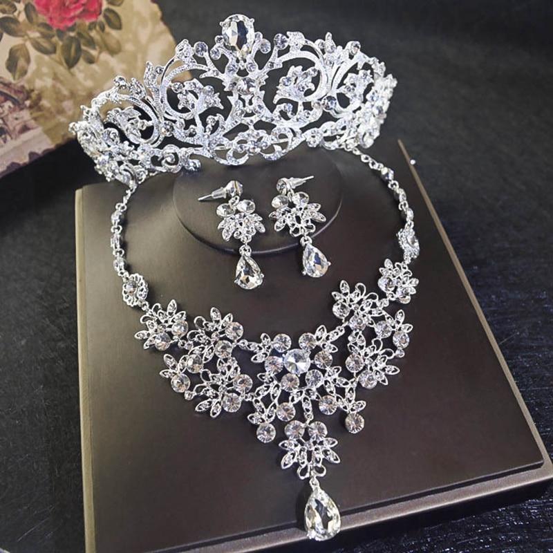 New Bride Crystal Rhinestone Jewelry Set Headdress Ornaments Wedding Dress Accessories Crown Necklace Earrings Gorgeous SJT0012